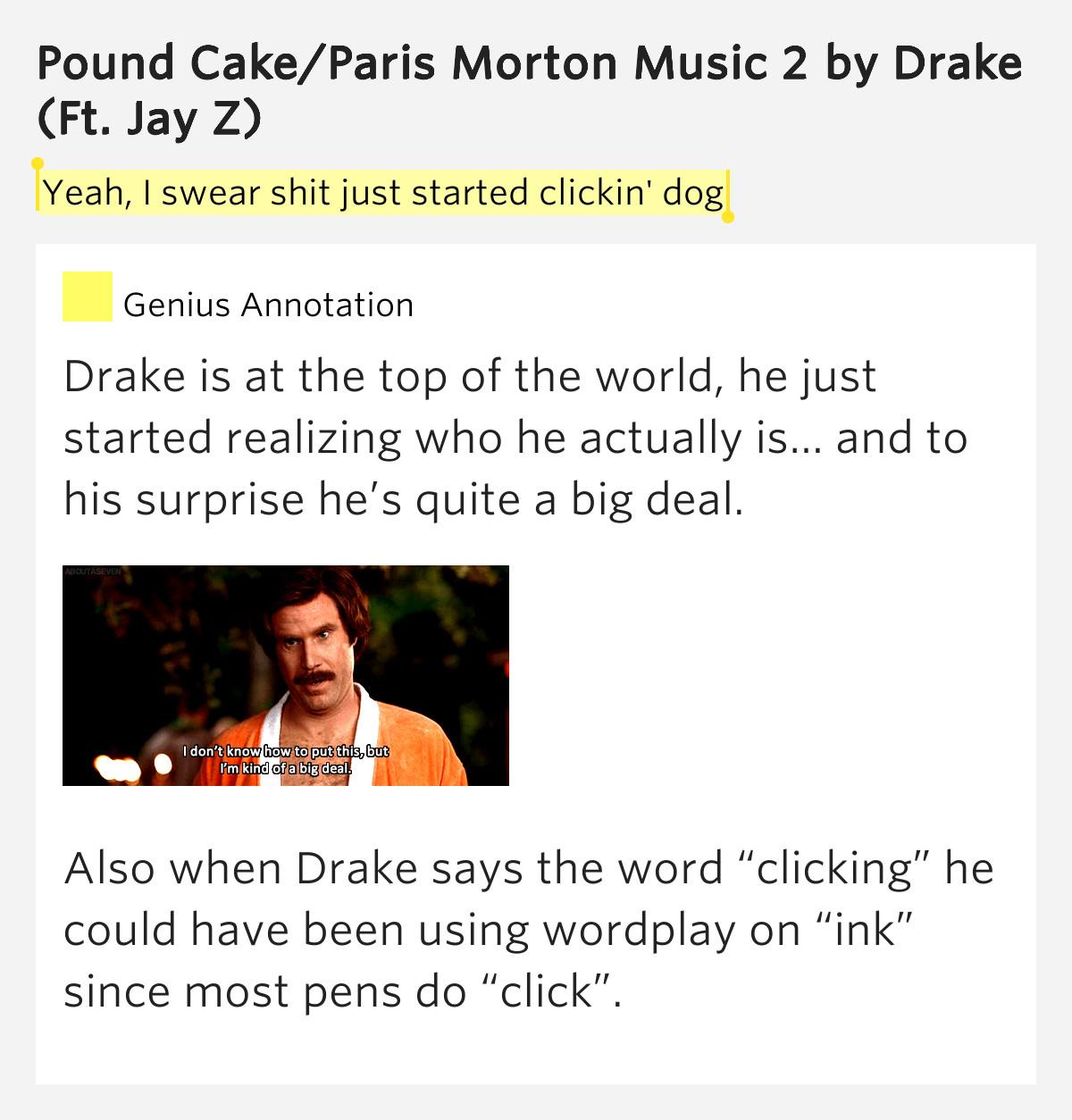 Pound Cake Lyrics  Yeah I swear shit just – Pound Cake Paris Morton Music 2