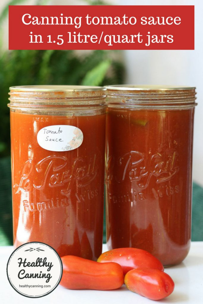 Pressure Canning Tomato Sauce  Tomato sauce in 1 5 litre quart jars Healthy Canning