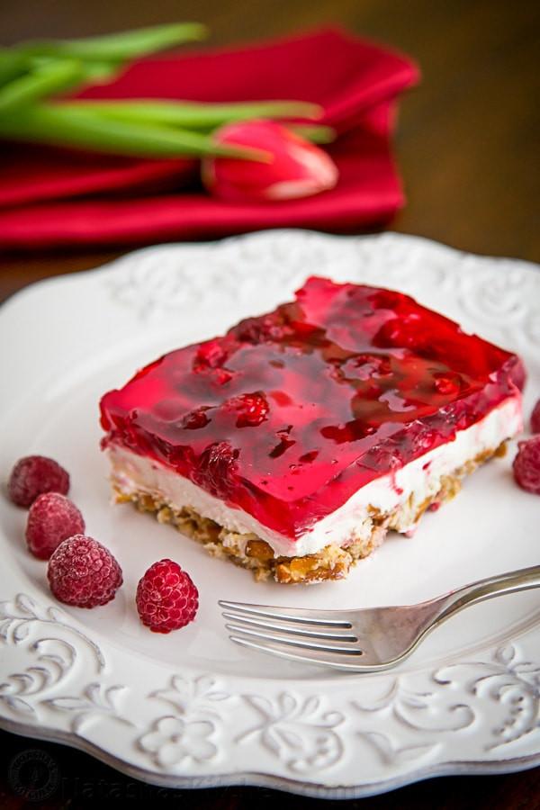 Pretzel Jello Dessert  Raspberry Pretzel Jello