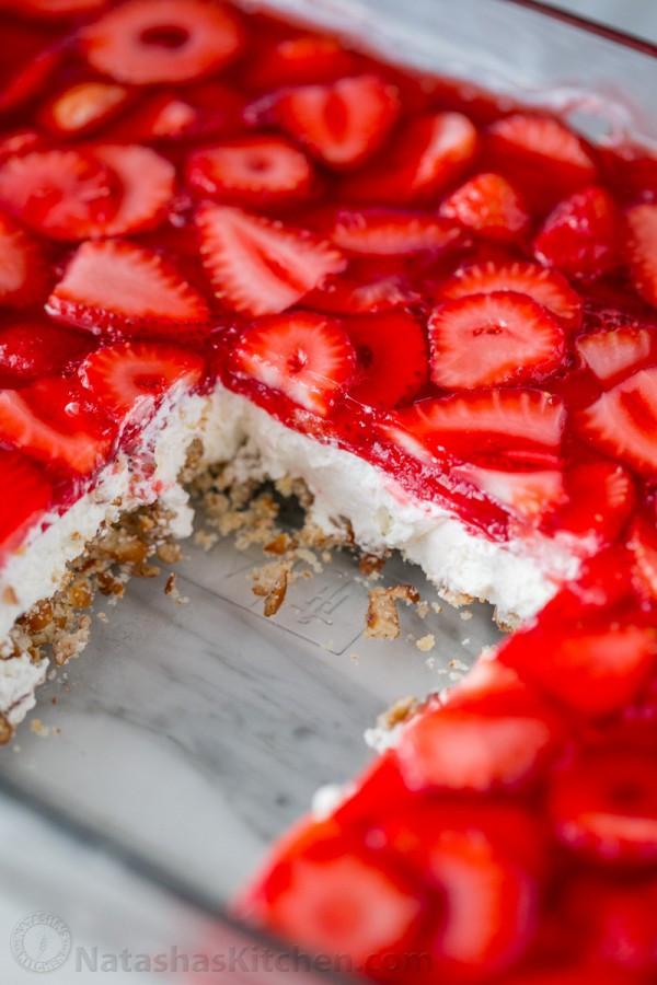 Pretzel Jello Dessert Recipe  Strawberry Pretzel Salad Recipe Video NatashasKitchen