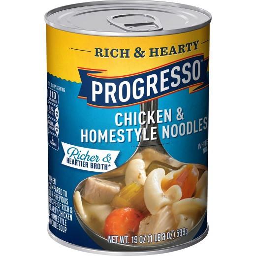 Progresso Chicken Noodle Soup  Progresso Rich & Hearty Chicken & Homestyle Noodle Soup