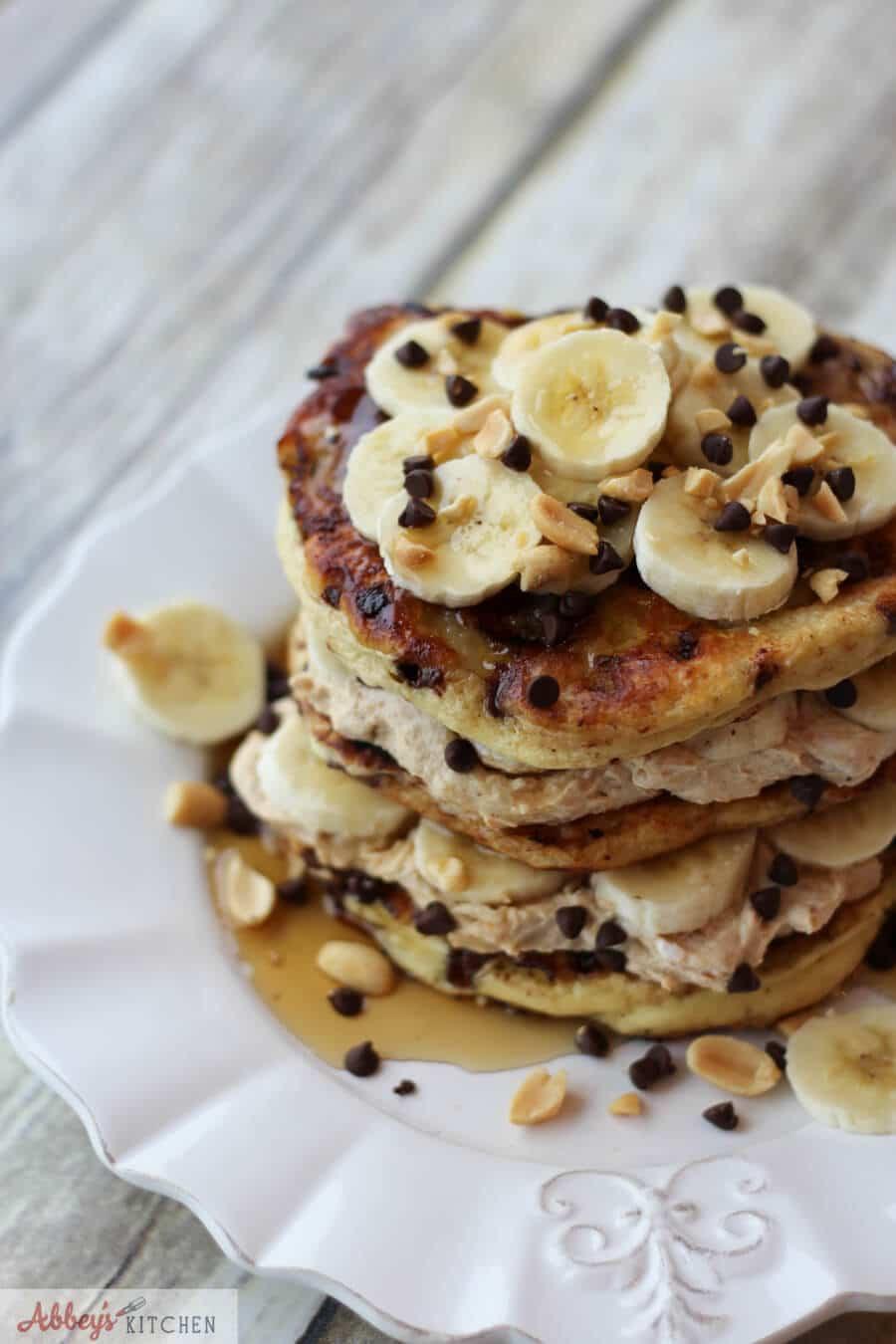 Protein Banana Pancakes  Chocolate Peanut Butter Banana Protein Pancakes