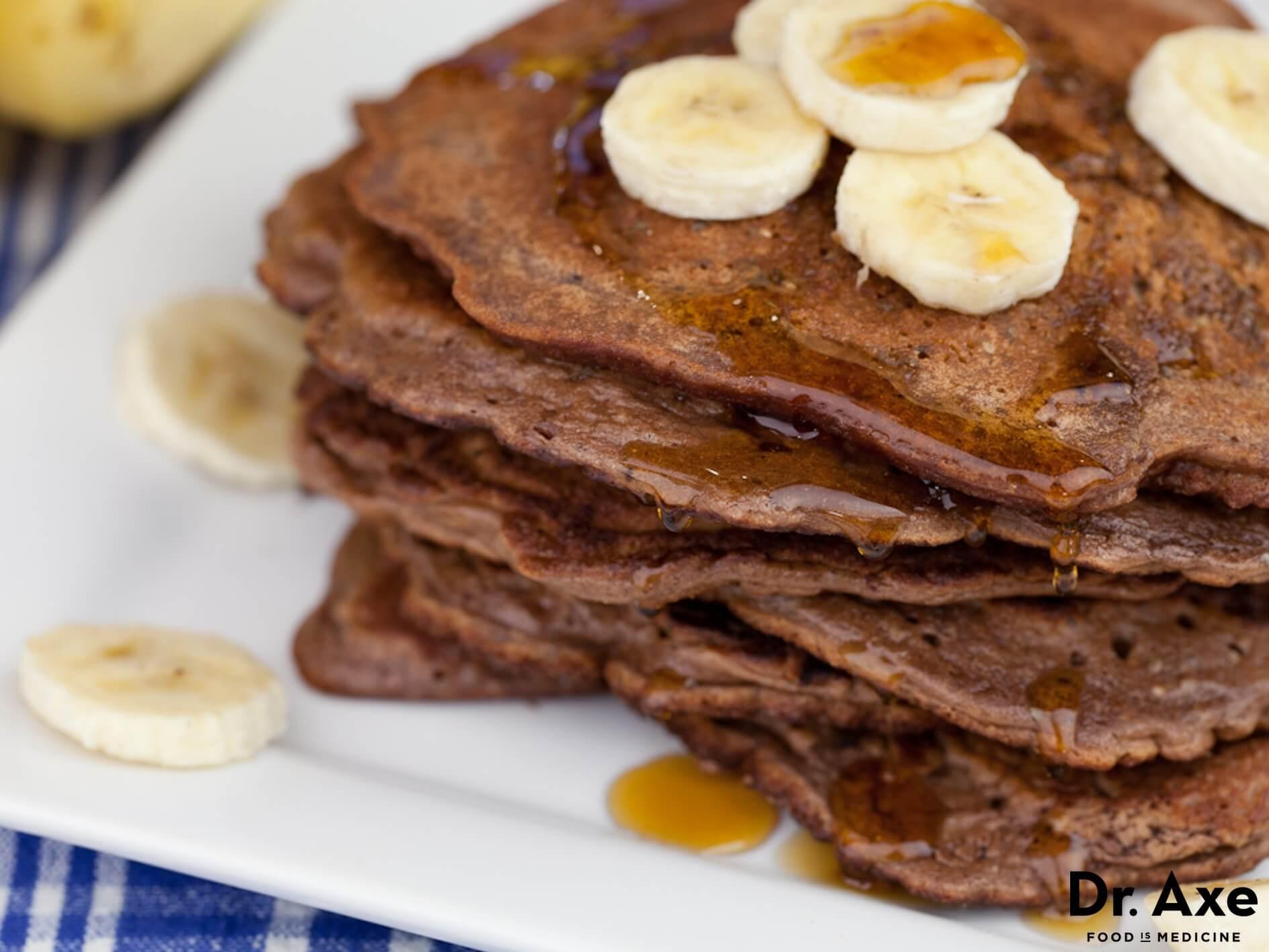 Protein Banana Pancakes  Chocolate Banana Protein Pancakes Recipe Dr Axe