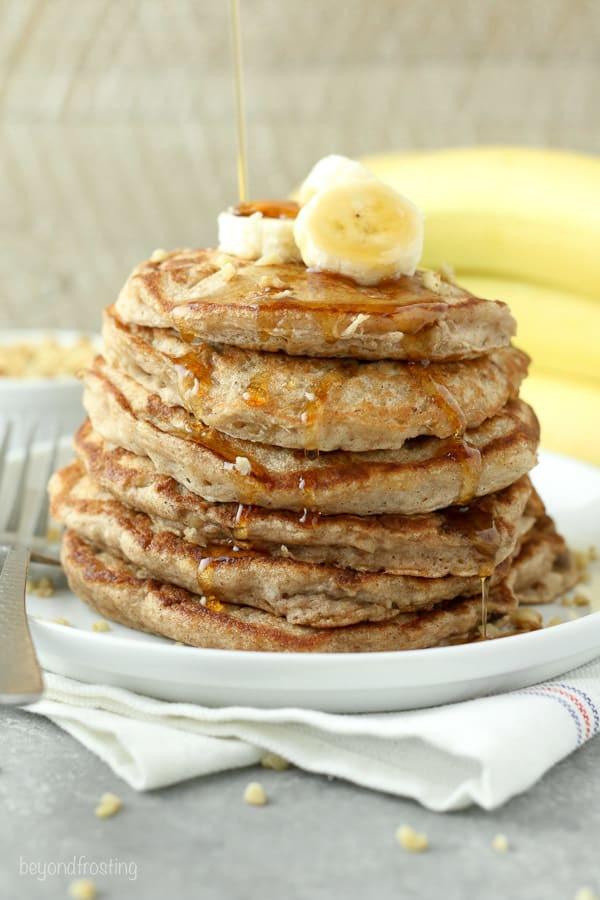 Protein Banana Pancakes  Banana Walnut Protein Pancakes Beyond Frosting