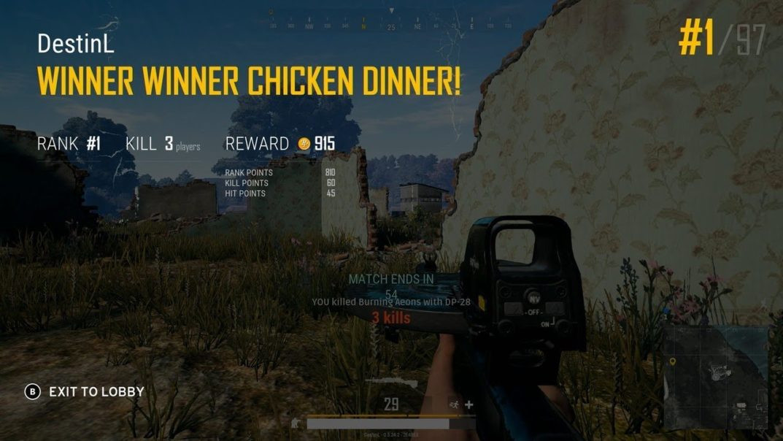 Pubg Chicken Dinner  PUBG Getting a Chicken Dinner on Xbox e X CodeJunkies