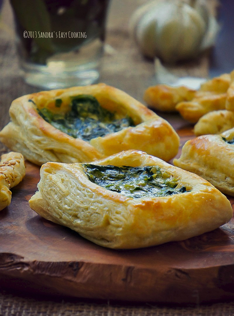 Puffed Pastry Appetizers Recipes  puff pastry with spinach and scallions in alfredo sauce
