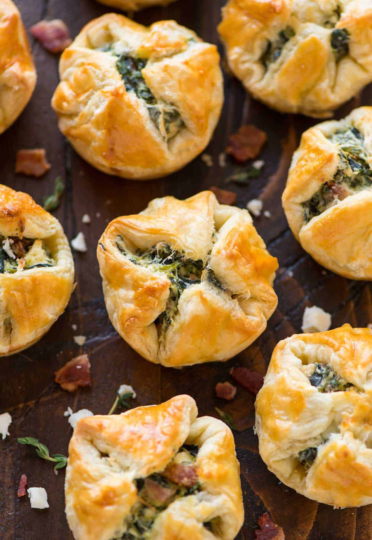 Puffed Pastry Appetizers Recipes  Spinach Puffs with Cream Cheese Bacon and Feta