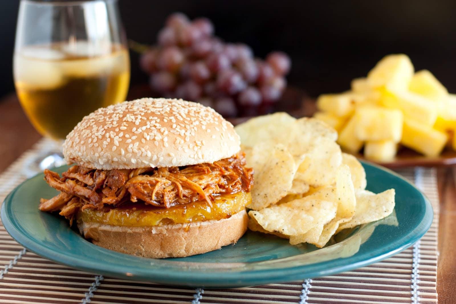 Pulled Chicken Sandwiches  Hawaiian BBQ Pulled Chicken Sandwiches Slow Cooker Recipe