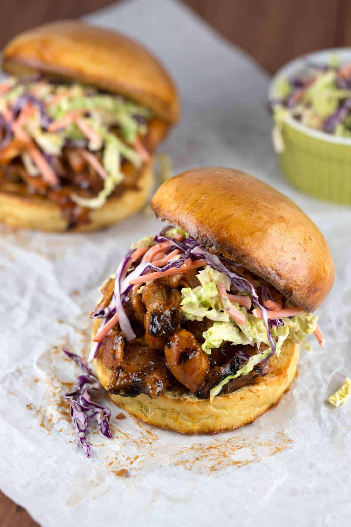 Pulled Chicken Sandwiches  Pulled Chicken Sandwiches with Coleslaw