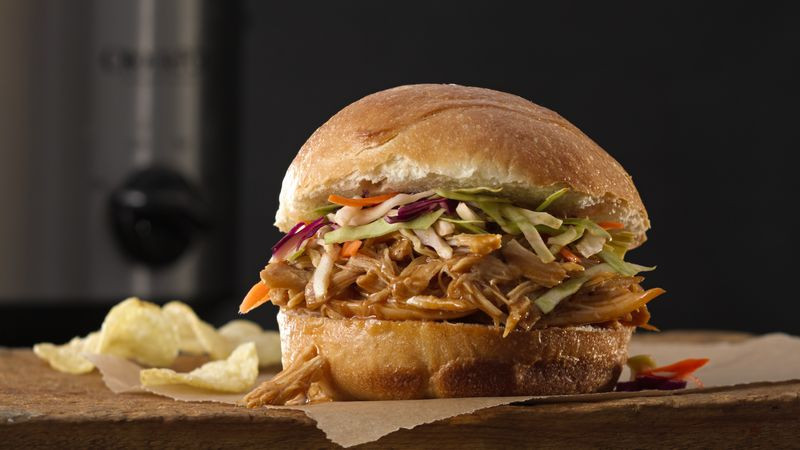 Pulled Chicken Sandwiches  Slow Cooker Asian Pulled Chicken Sandwiches Recipe