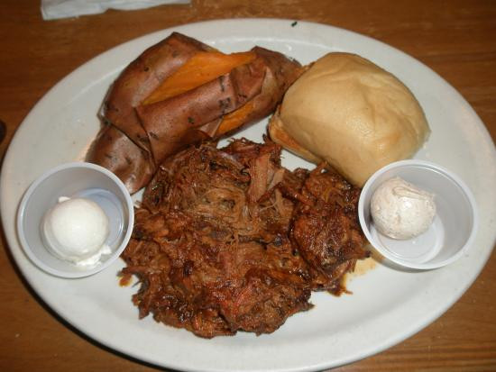 Pulled Pork Dinner  Pulled Pork Dinner With Baked Sweet Potato Picture of