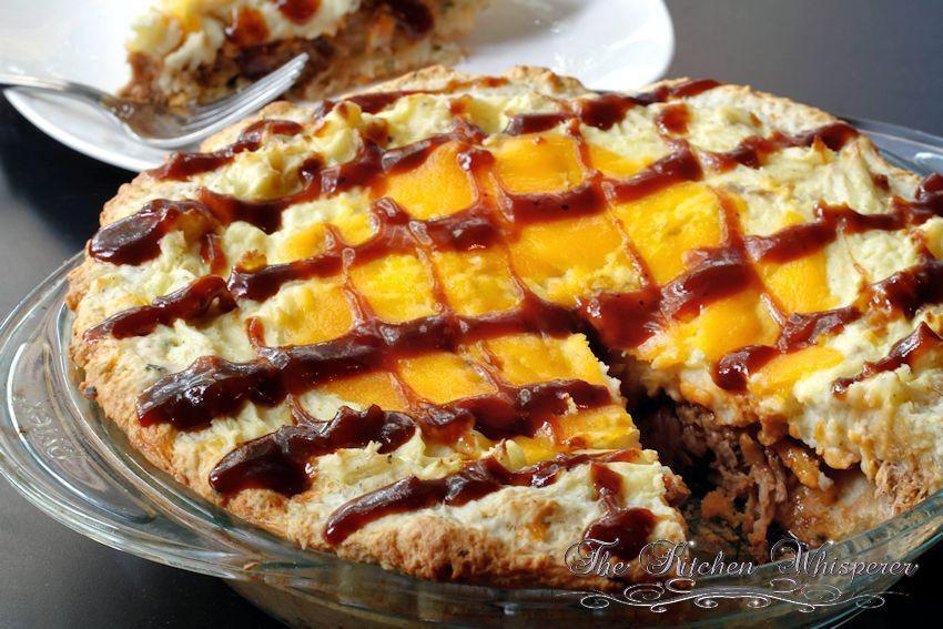 Pulled Pork Shepherd'S Pie  Whiskey Pulled Pork Shepherd's Pie with Cheddar Biscuit Crust