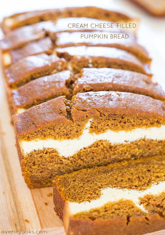Pumpkin Bread With Cream Cheese  Cream Cheese Filled Pumpkin Bread Averie Cooks