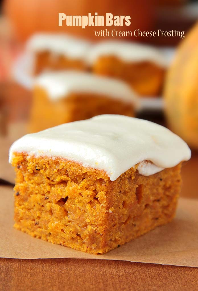 Pumpkin Cake With Cream Cheese Frosting  Pumpkin Bars with Cream Cheese Frosting Sugar Apron