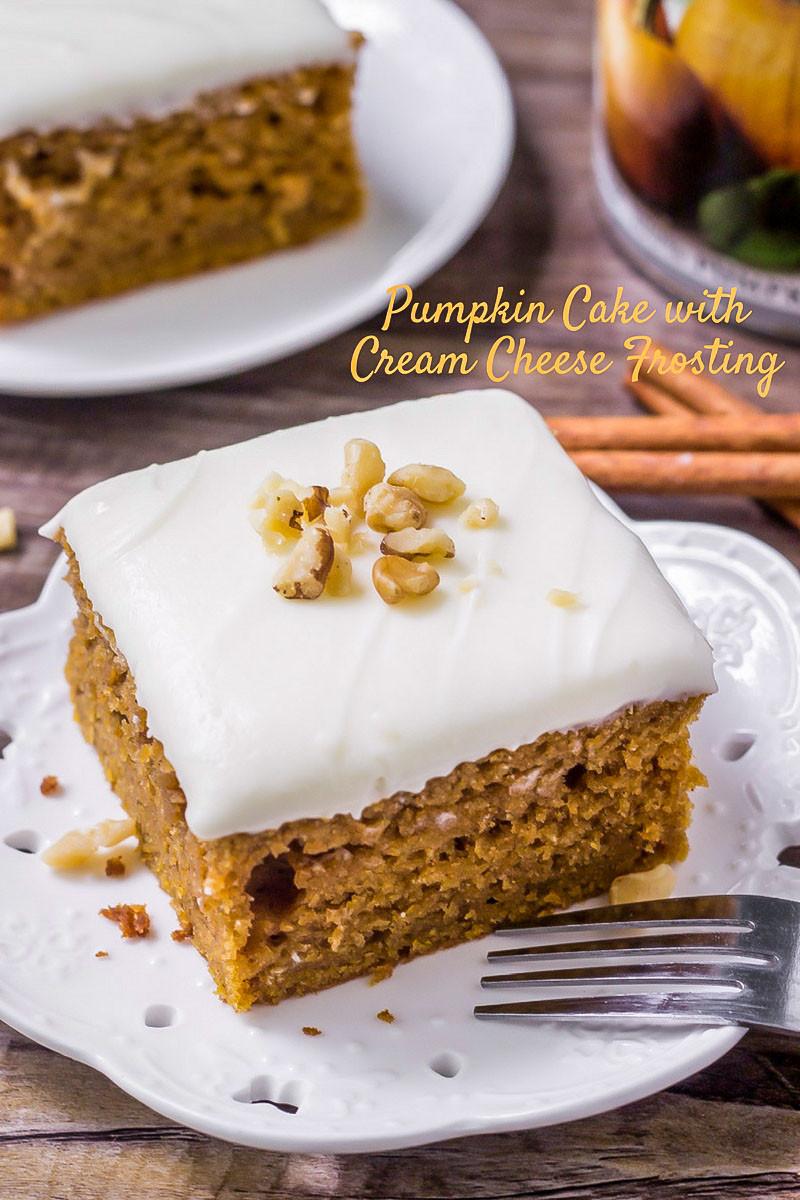 Pumpkin Cake With Cream Cheese Frosting  BEST Pumpkin Cake