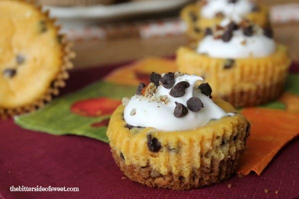 Pumpkin Cheese Cake Bites  Chocolate Chip Pumpkin Cheesecake Bites theBitterSideofSweet