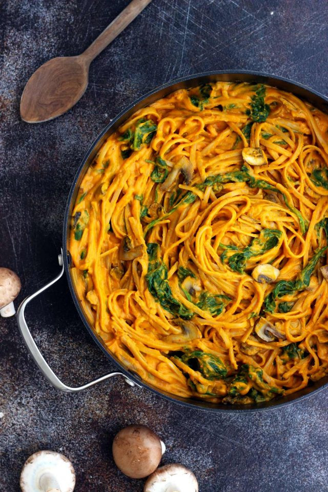 Pumpkin Dinner Recipe  Healthy Pumpkin Pasta with Spinach and Mushrooms • Happy