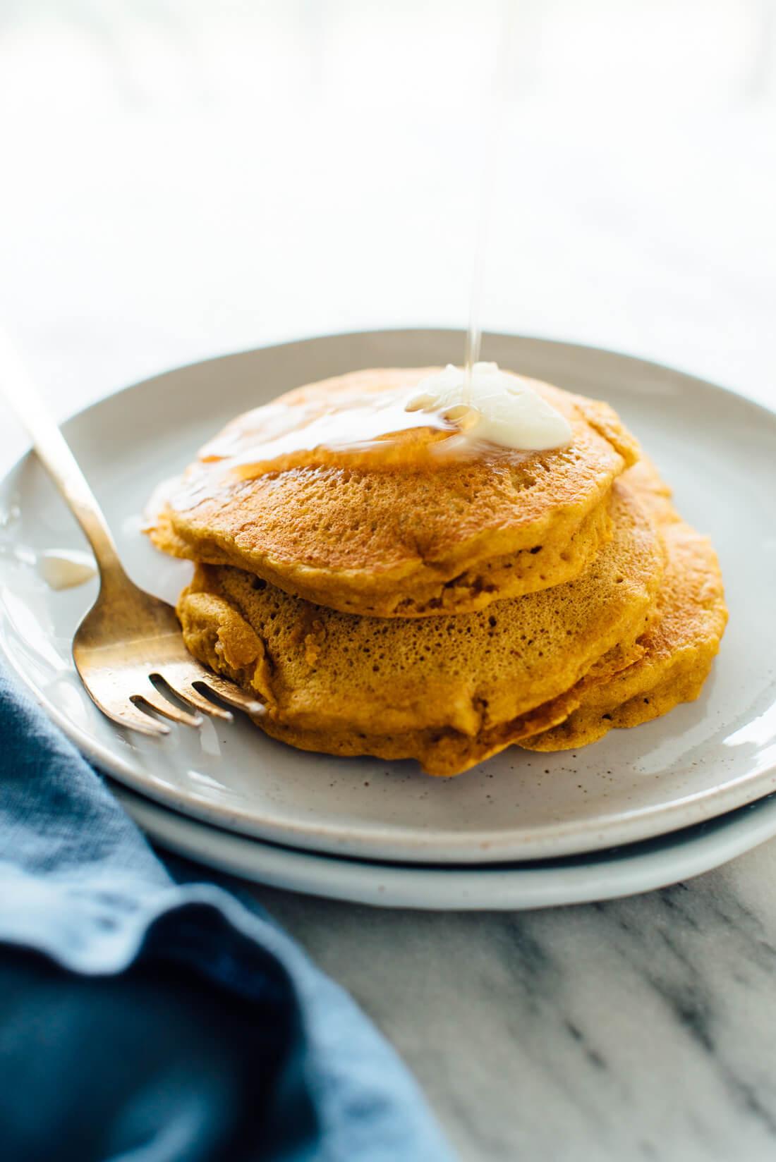 Pumpkin Pancakes Recipe  Whole Wheat Pumpkin Pancakes Cookie and Kate