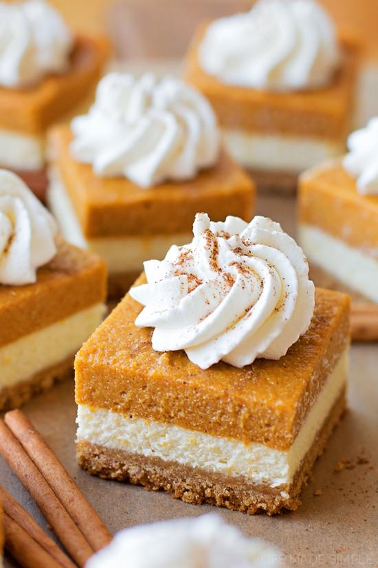Pumpkin Pie Bars  Layered Pumpkin Pie Cheesecake Bars Life Made Simple