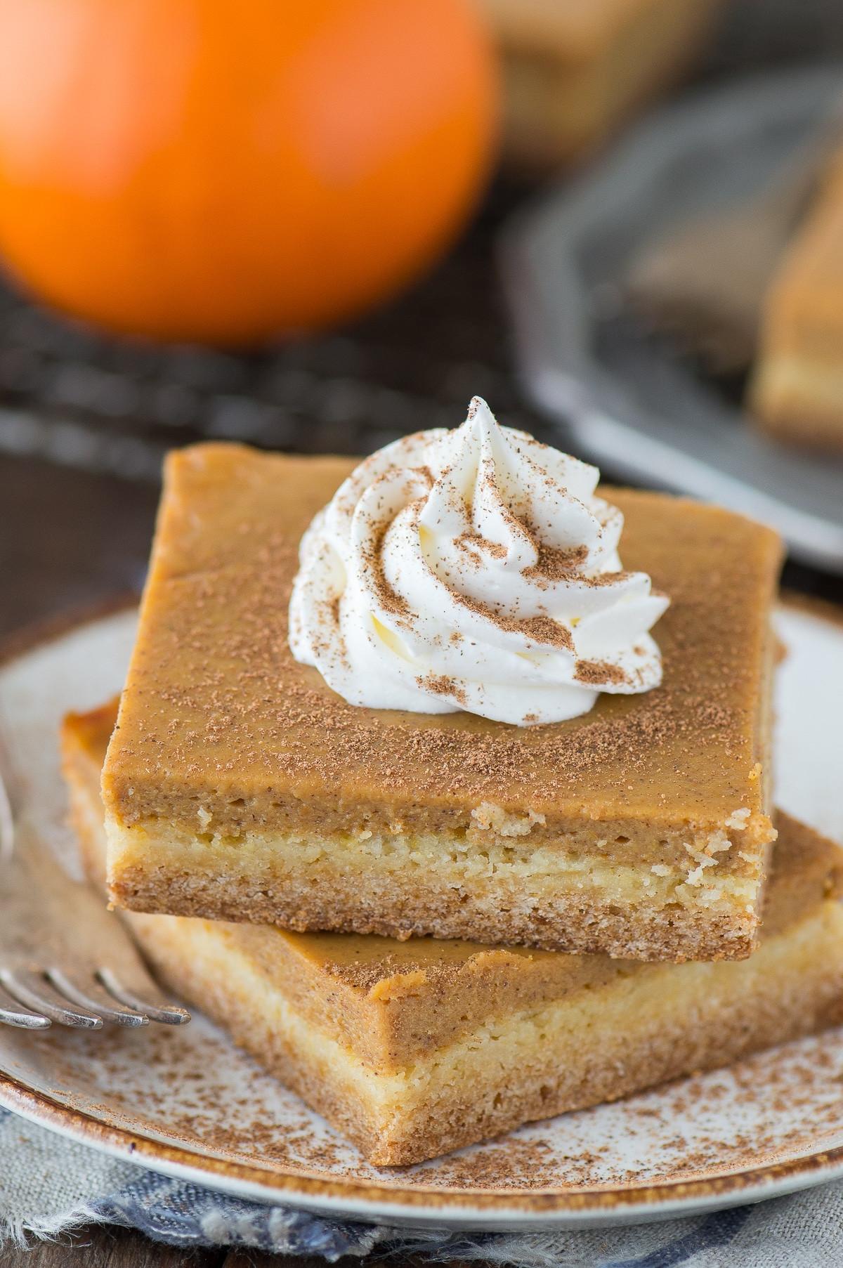 Pumpkin Pie Bars  pumpkin torte yellow cake mix