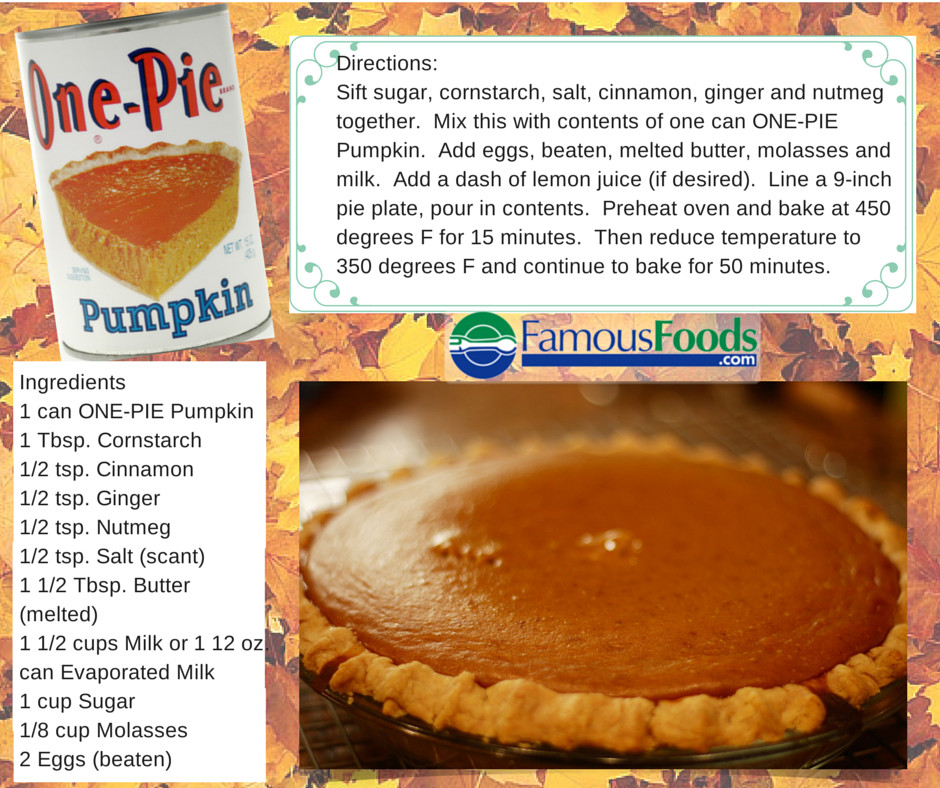Pumpkin Pie Ingredients  e Pie Pumpkin Pie Recipe The Famous Foo The Famous