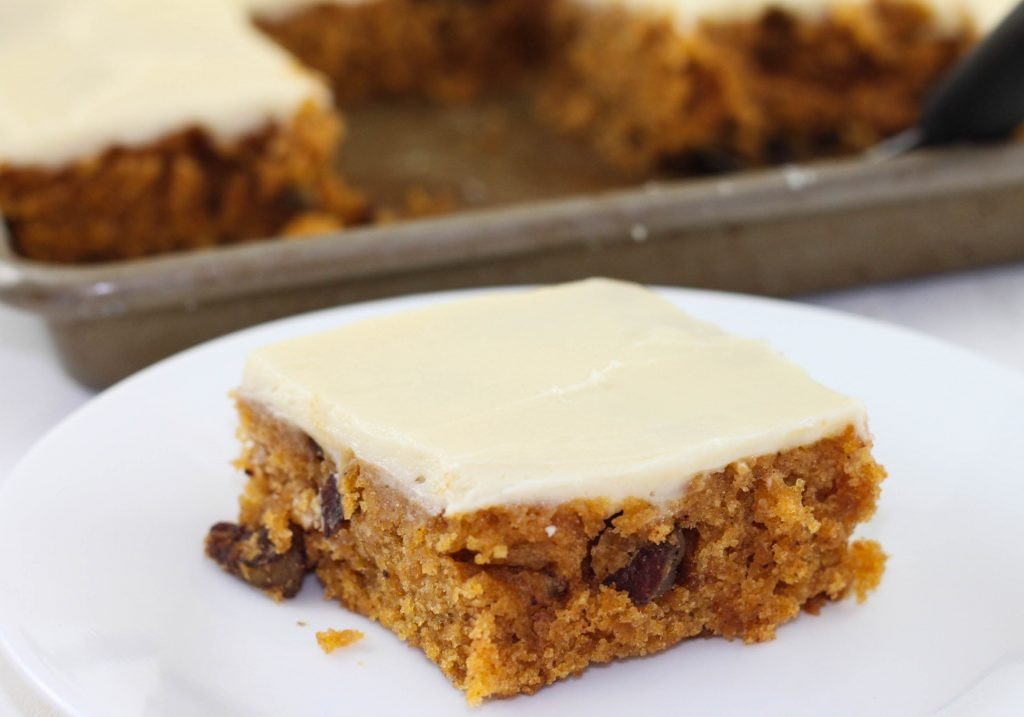 Pumpkin Sheet Cake  Pumpkin Sheet Cake with Cream Cheese Icing The Farmwife