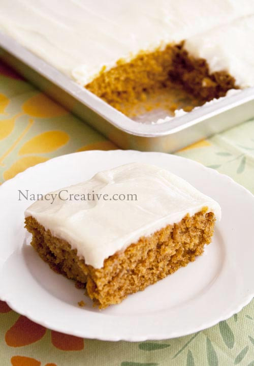 Pumpkin Sheet Cake  Pam's Pumpkin Sheet Cake
