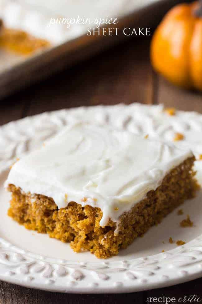 Pumpkin Sheet Cake  Pumpkin Spice Sheet Cake with Cream Cheese Frosting