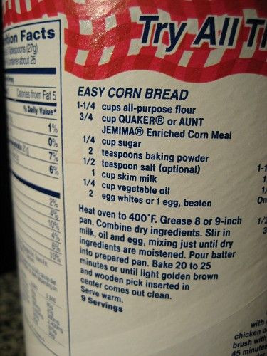 Quaker Cornbread Recipe  Original Quaker cornbread Recipe