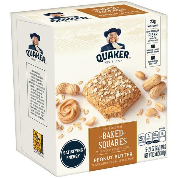 Quaker Oats Breakfast Bars  Quaker Breakfast Squares Soft Baked Peanut Butter Bars