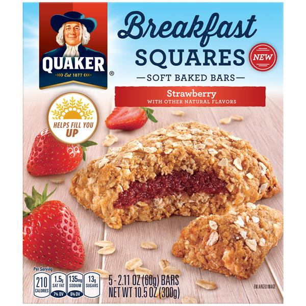 Quaker Oats Breakfast Bars  Quaker Breakfast Squares Strawberry Soft Baked Bars 5Ct