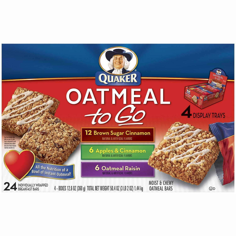 Quaker Oats Breakfast Bars  Quaker Oatmeal To Go Variety Pack 24 ct Sam s Club