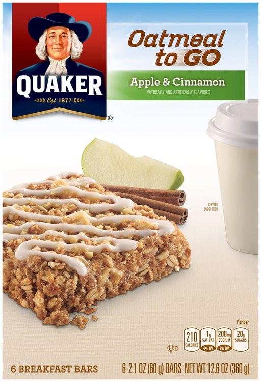 Quaker Oats Breakfast Bars  Quaker Oatmeal to Go Apple & Cinnamon Breakfast Bars 6 ct
