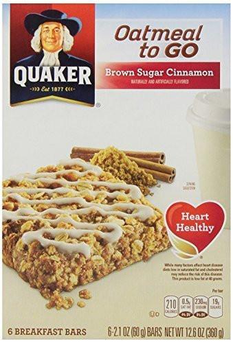 Quaker Oats Breakfast Bars  Quaker Oatmeal To Go Brown Sugar Cinnamon Breakfast Bars