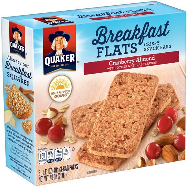 Quaker Oats Breakfast Bars  Quaker Breakfast Flats Cranberry Almond Snack Bars