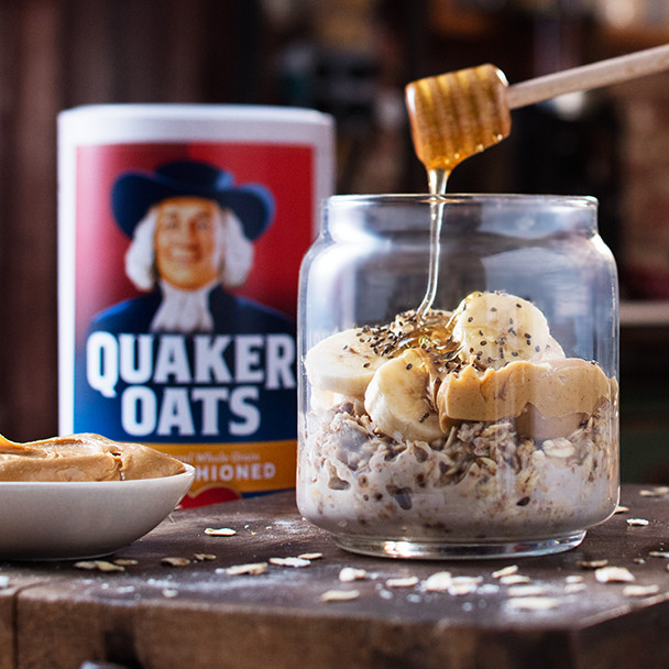Quaker Oats Breakfast Recipes  Peanut Butter Banana Overnight Oats Recipe