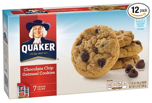 Quaker Oats Oatmeal Cookies  Quaker Chocolate Chip Oatmeal Cookies 12 Boxes ly $11 52