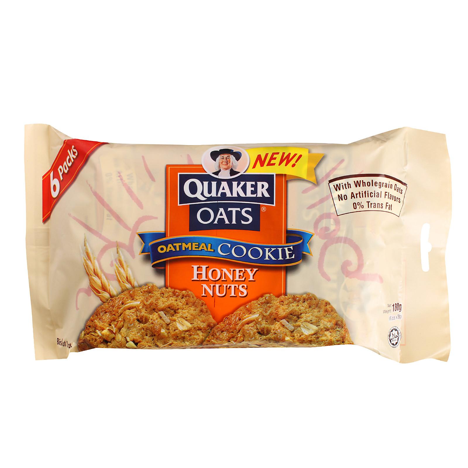 Quaker Oats Oatmeal Cookies  Quaker Oats Honey Nuts Oatmeal Cookies 162g from RedMart