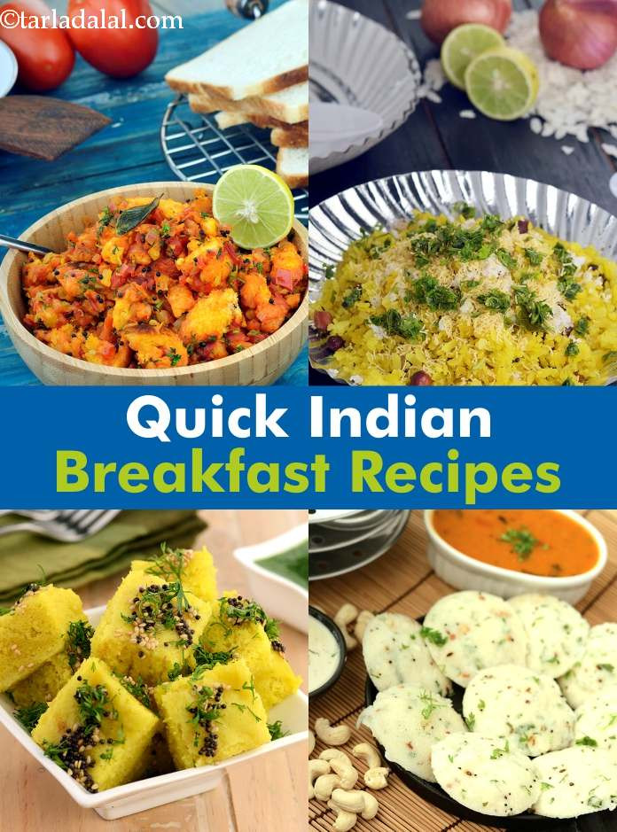 Quick Indian Breakfast Recipes  Quick Breakfast Indian Recipes Tarladalal