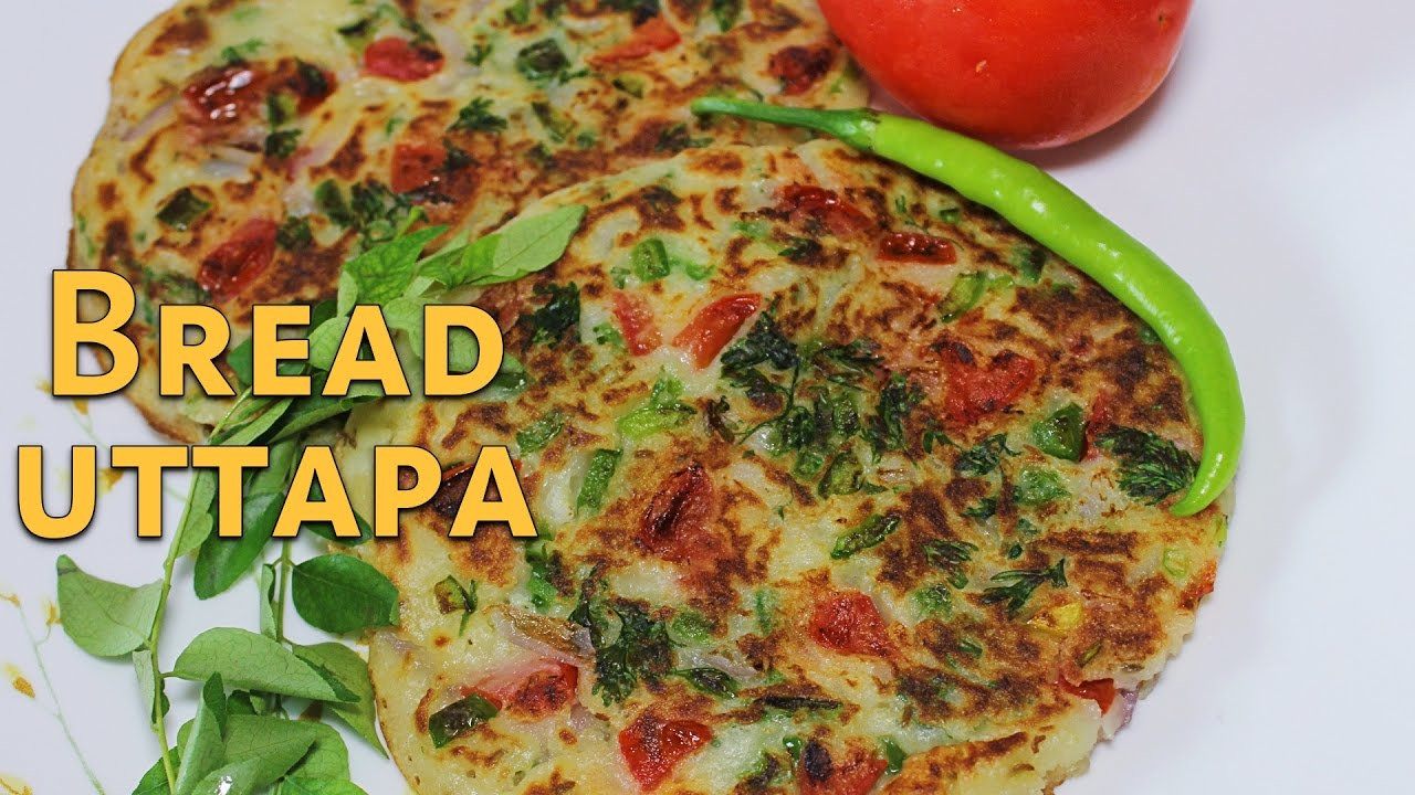 Quick Indian Breakfast Recipes  Bread Uttapam South Indian Snack Recipe