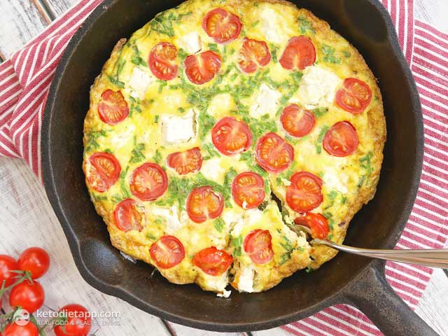 Quick Keto Dinner  Quick Frittata with Tomatoes and Cheese