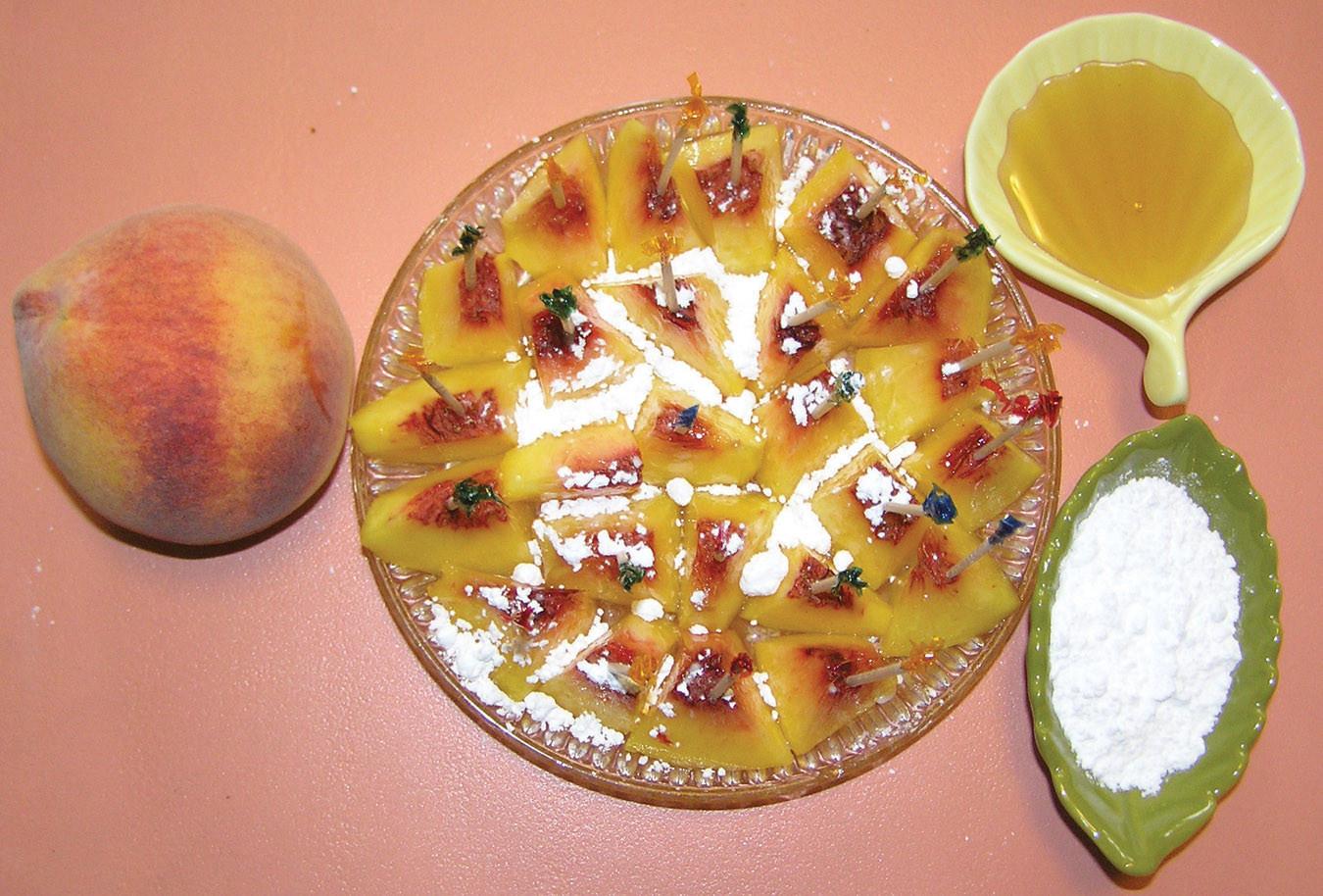 Quick Peach Dessert  Alu Tikki Fingers & Quick Peach Dessert
