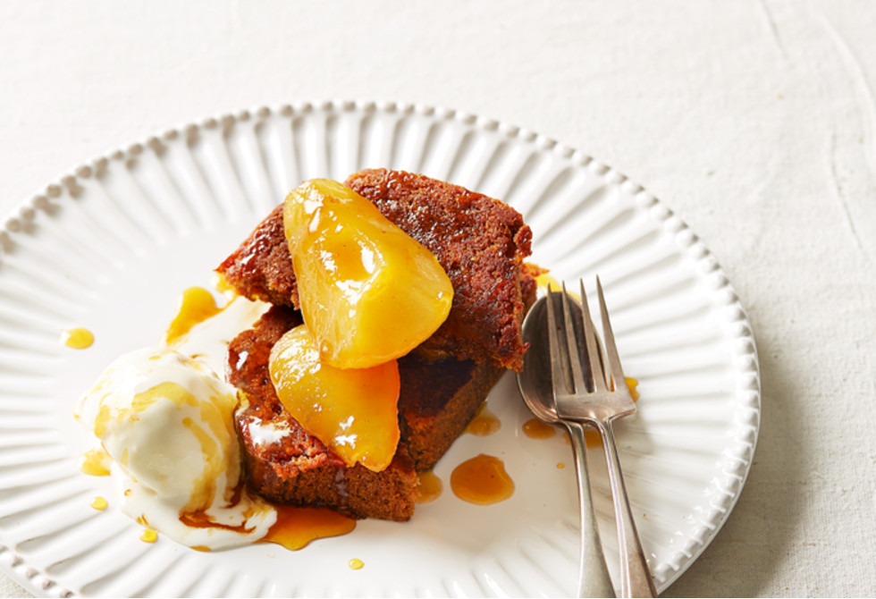 Quick Pear Dessert  Quick pear and ginger pudding Recipe