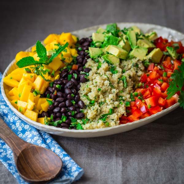 Quinoa And Black Bean Salad  black bean quinoa salad with mango and avocado