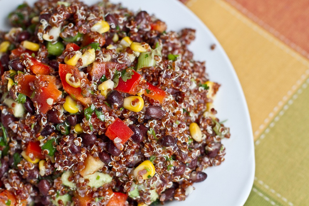Quinoa And Black Bean Salad  Red Quinoa and Black Bean Ve able Salad — Oh She Glows