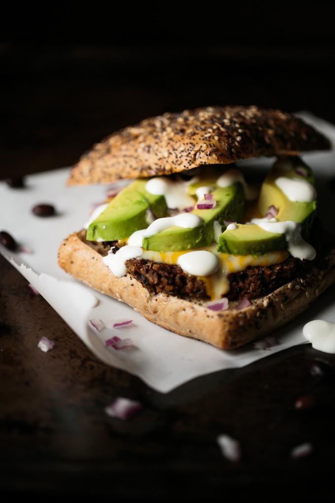 Quinoa Black Bean Burger  Quinoa Black Bean Burgers with Lime Crema