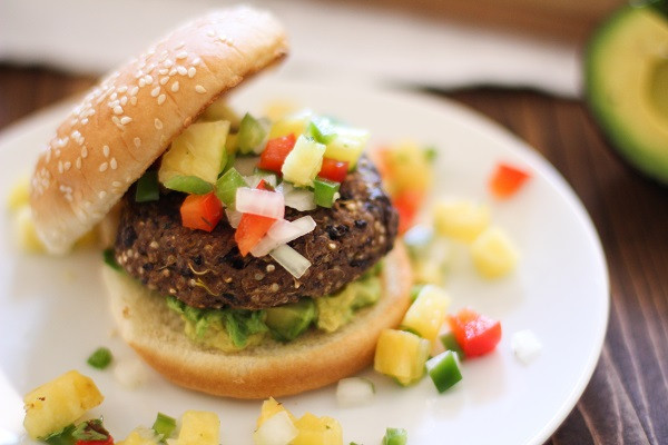 Quinoa Black Bean Burger  Sprouted Quinoa Black Bean Burgers with Pineapple Salsa