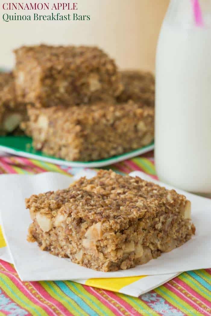 Quinoa Breakfast Bars  Cinnamon Apple Quinoa Breakfast Bars Cupcakes & Kale Chips