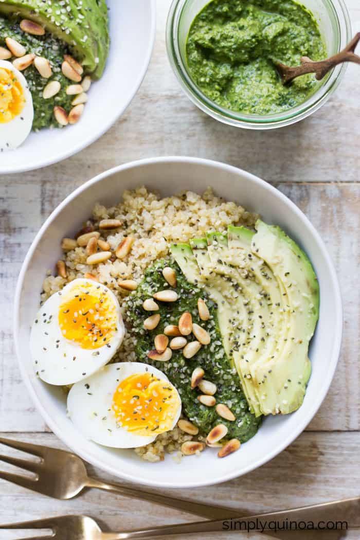 Quinoa For Breakfast  Savory Pesto Quinoa Breakfast Bowls Simply Quinoa