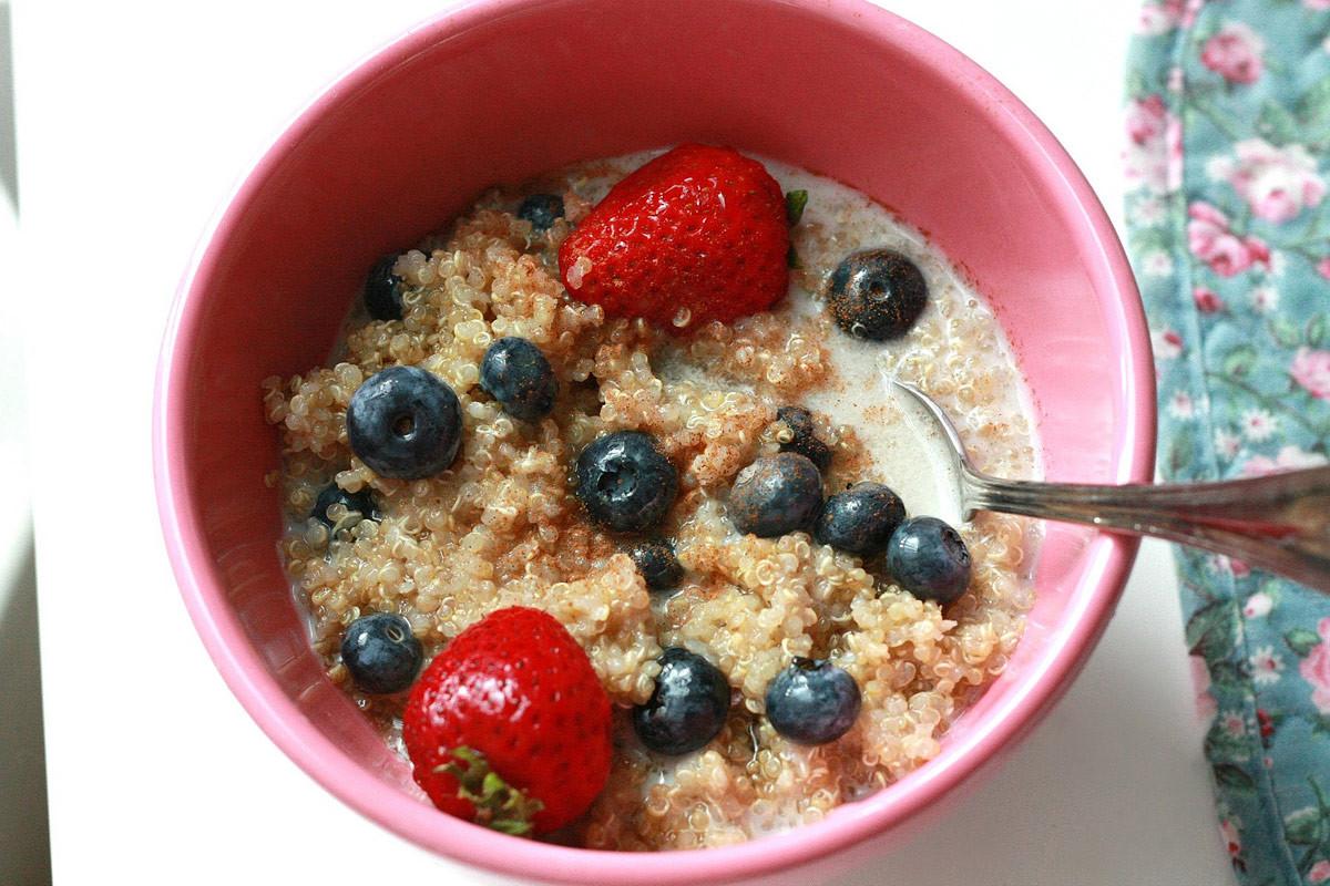 Quinoa For Breakfast  Quinoa for Breakfast with Strawberries & Blueberries
